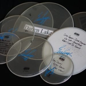 Past Tours: stage played drum heads/sticks